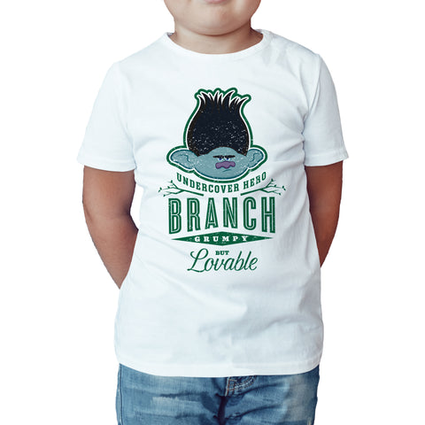 Trolls Branch Official Kid's T-Shirt (White) - Urban Species Kids Short Sleeved T-Shirt