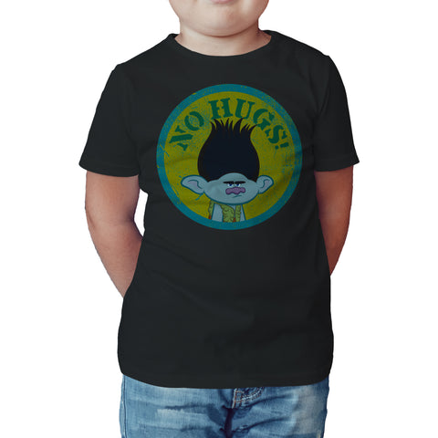 Trolls No Hugs Official Kid's T-Shirt (Black) - Urban Species Kids Short Sleeved T-Shirt