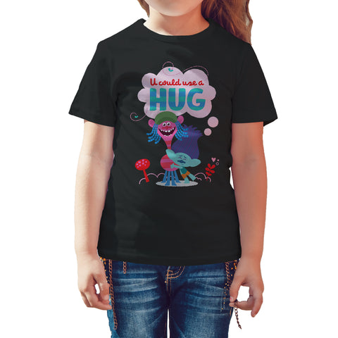 Trolls Use Hug Official Kid's T-Shirt (Black) - Urban Species Kids Short Sleeved T-Shirt