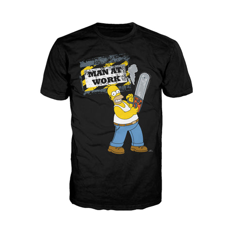 Cool New The Simpsons Homer Graphic Man Work Official Men's T-Shirt (Black) - Urban Species Mens Short Sleeved T-Shirt