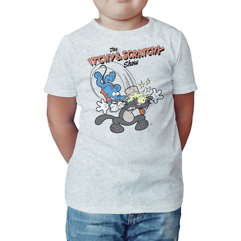 The Simpsons Itchy Scratchy Hammer Official Kid's T-shirt (Heather Grey) - Urban Species Kids Short Sleeved T-Shirt