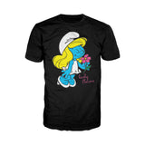 The Smurfs Smurfette Character Flowers Official Men's T-shirt (Black)