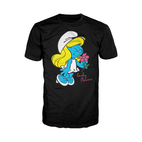 The Smurfs Smurfette Character Flowers Official Men's T-shirt (Black) - Urban Species Mens Short Sleeved T-Shirt