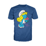 The Smurfs Smurfette Character Flowers Official Men's T-shirt (Blue)
