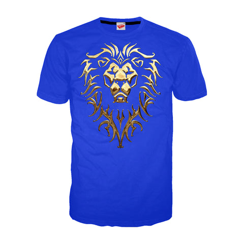 Cool New Warcraft Alliance Logo Metallic Official Men's T-shirt (Royal Blue) - Urban Species Mens Short Sleeved T-Shirt