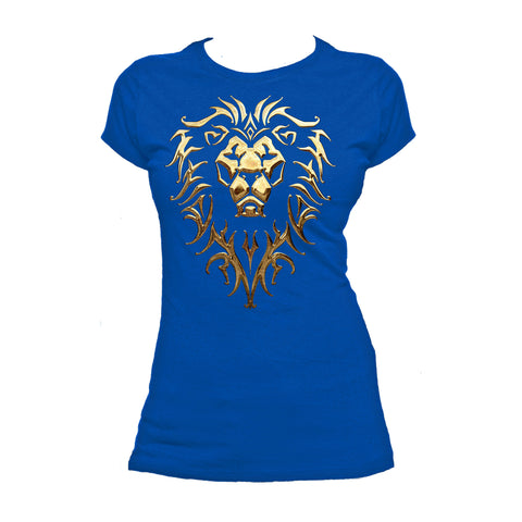 Cool New Warcraft Alliance Logo Metallic Official Women's T-shirt (Royal Blue) - Urban Species Ladies Short Sleeved T-Shirt
