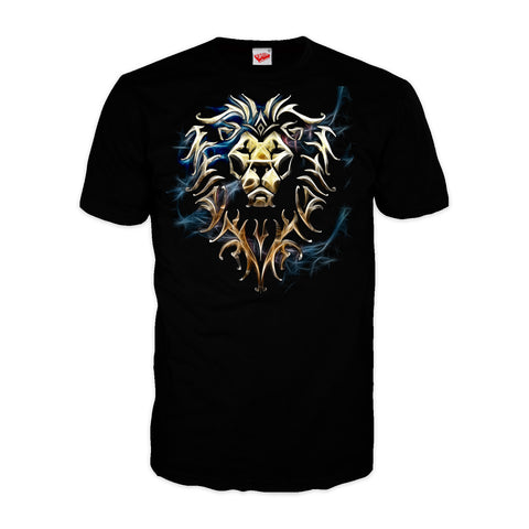 Warcraft Alliance Logo Saturated Official Men's T-shirt (Black) - Urban Species Mens Short Sleeved T-Shirt