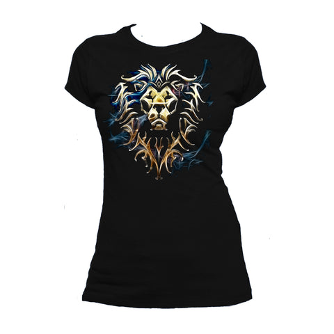 Cool New Warcraft Alliance Logo Saturated Official Women's T-shirt (Black) - Urban Species Ladies Short Sleeved T-Shirt
