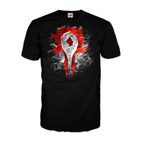 Warcraft Horde Logo Burst Official Men's T-shirt (Black) - Urban Species Mens Short Sleeved T-Shirt
