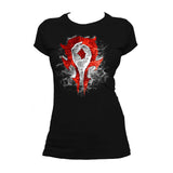 Cool New Warcraft Horde Logo Burst Official Women's T-shirt (Black) - Urban Species Ladies Short Sleeved T-Shirt