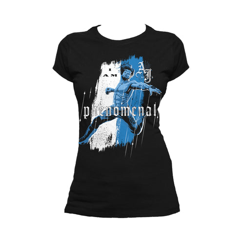 WWE AJ Styles Comic Phenomenal Official Women's T-shirt (Black) - Urban Species Ladies Short Sleeved T-Shirt