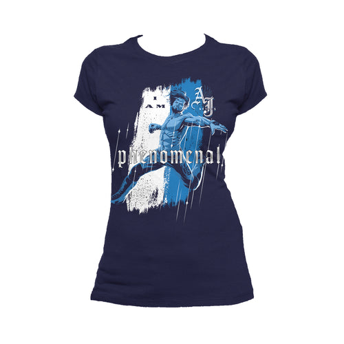 WWE AJ Styles Comic Phenomenal Official Women's T-shirt (Navy) - Urban Species Ladies Short Sleeved T-Shirt