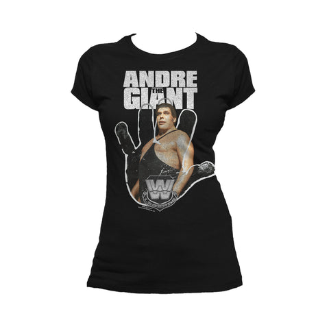 WWE Andre The Giant Logo Hand Official Women's T-shirt (Black)