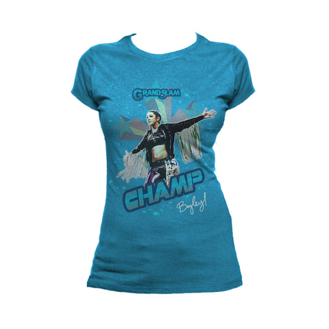 US WWE Bayley Grand Slam Official Women's T-Shirt (Turquoise) - Urban Species Women's T-Shirt