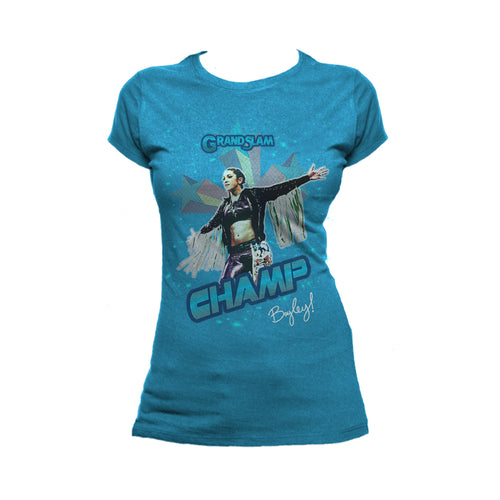US WWE Bayley Grand Slam Official Women's T-Shirt (Turquoise) - Urban Species Ladies Short Sleeved T-Shirt