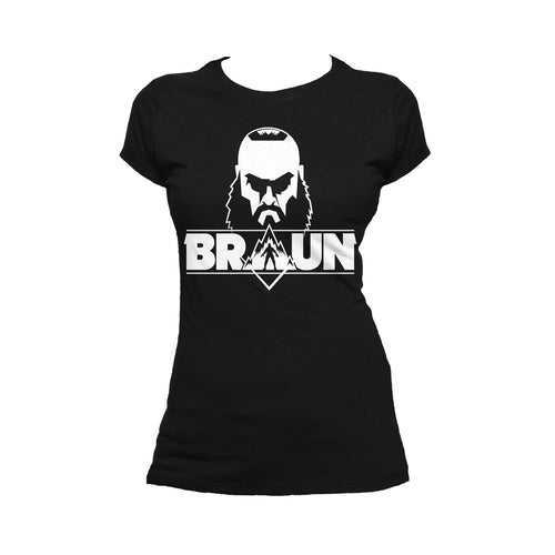 Cool New WWE Braun Strowman Logo Head Official Women's T-shirt (Black) - Urban Species Ladies Short Sleeved T-Shirt