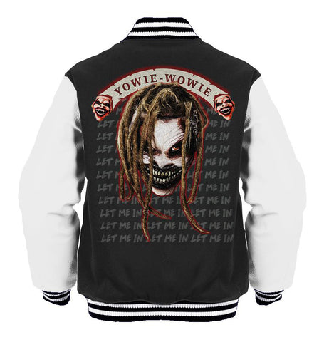 WWE Bray Wyatt Fiend Yowie Wowie Official Varsity Jacket (Black) - Urban Species Varsity Jacket