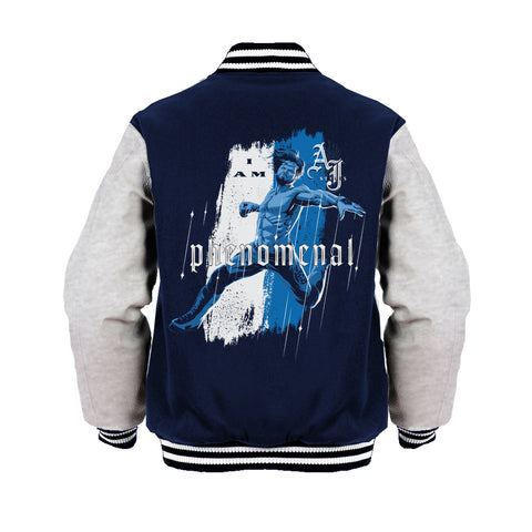 Cool New WWE AJ Styles Comic Phenomenal Official Varsity Jacket (Navy) - Urban Species Mens Varsity Jacket