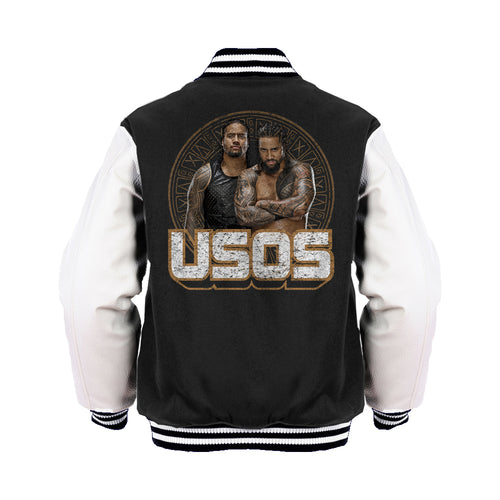 WWE USOS Tribal Shield Logo Official Varsity Jacket (Black) - Urban Species Varsity Jacket