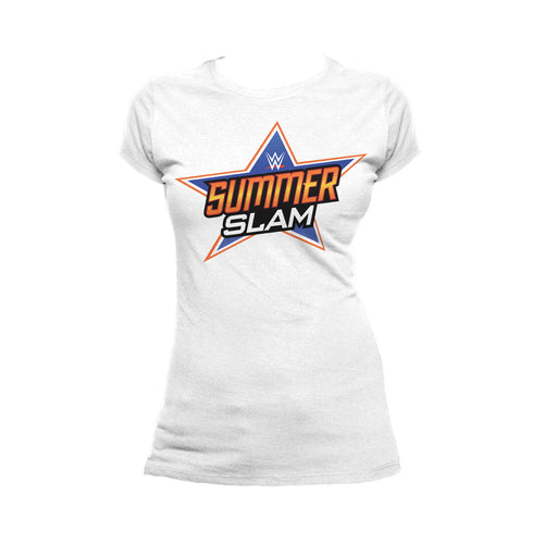 WWE SummerSlam Logo Official Women's T-shirt (White) - Urban Species Ladies Short Sleeved T-Shirt