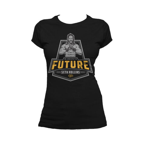 WWE Seth Rollins Logo Future Badge Official Women's T-shirt (Black) - Urban Species Ladies Short Sleeved T-Shirt