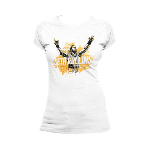 WWE Seth Rollins Undisputed Future Official Women's T-shirt (White) - Urban Species Ladies Short Sleeved T-Shirt