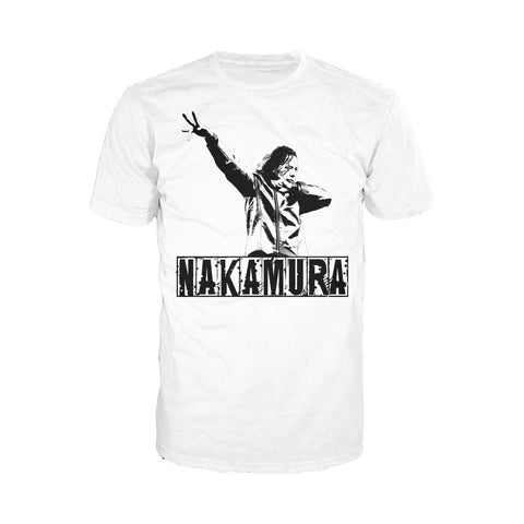 WWE Shinsuke Nakamura Logo Dab Stance Official Men's T-shirt (White) - Urban Species Mens Short Sleeved T-Shirt