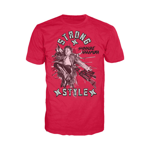 WWE Shinsuke Nakamura Splash Strong Style Official Men's T-shirt (Red) - Urban Species Mens Short Sleeved T-Shirt