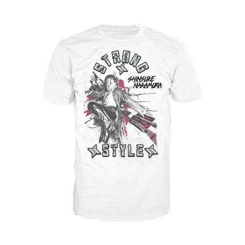 Cool New WWE Shinsuke Nakamura Splash Strong Style Official Men's T-shirt (White) - Urban Species Mens Short Sleeved T-Shirt