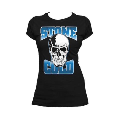 WWE Stone Cold Steve Austin Logo Official Women's T-shirt (Black) - Urban Species Ladies Short Sleeved T-Shirt