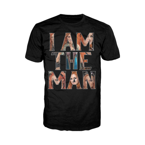 WWE Becky Lynch Photo I Am The Man Official Men's T-shirt (Black) - Urban Species Mens Short Sleeved T-Shirt