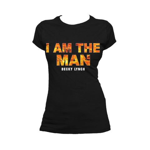 WWE Becky Lynch Logo I Am The Man Official Women T-shirt (Black) - Urban Species Ladies Short Sleeved T-Shirt
