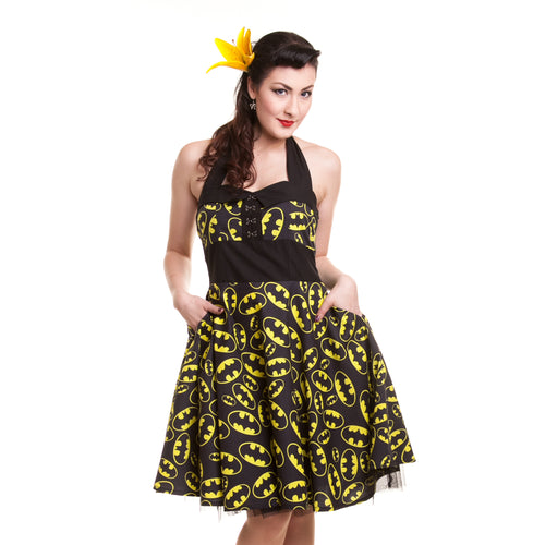 DC Comics Batman Logo Classic Repeat Official Women's Dress (Black) - Urban Species Ladies Dress