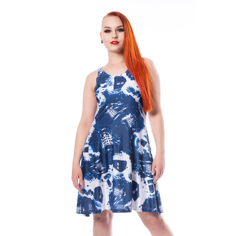 Cool New Doctor Who Galactic Dalek Official Women's Dress (Blue) - Urban Species Ladies Dress
