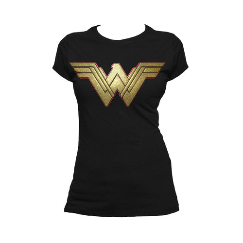 DC Wonder Woman Logo 3D Paisley Official Women's T-shirt (Black) - Urban Species Ladies Short Sleeved T-Shirt