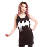 DC Comics Batman Graffiti Lace-Up Official Women's Long Tank Dress (Black) - Urban Species Ladies Long Tank Dress