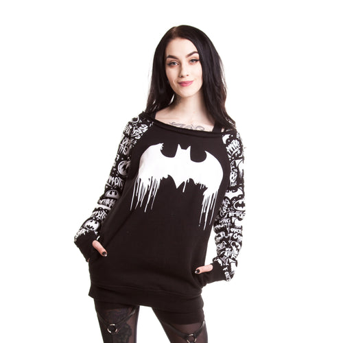 DC Comics Batman Graffiti Logo Official Ladies Sweater (Black) - Urban Species Ladies Sweater