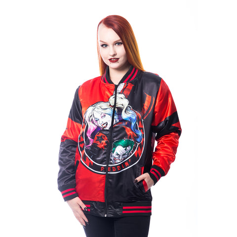 Harley Quinn Pudding Jacket Ladies (Red/Black) - Urban Species Ladies Jacket