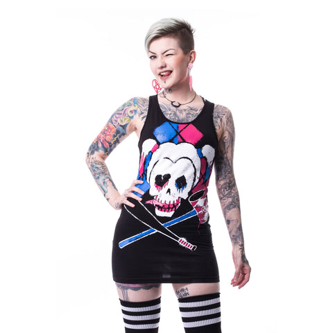 DC Suicide Squad Harley Quinn Skull Official Women's Long Tank Dress (Black) - Urban Species Ladies Dress