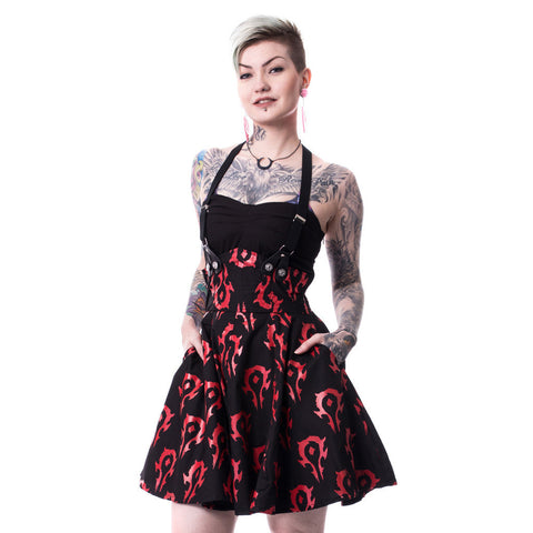 Warcraft Horde Logo Repeat Official Women's Dress (Black)
