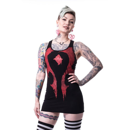 Warcraft Horde Logo Official Women's Long Tank Dress (Black) - Urban Species Ladies Long Tank Dress