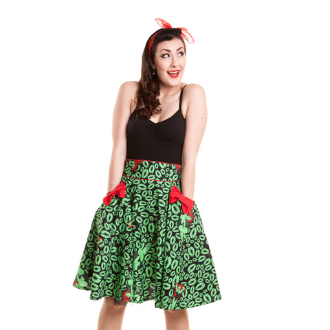 DC Comics Posion Ivy Repeat Bow Official Women's Skirt (Green) - Urban Species Ladies Dress