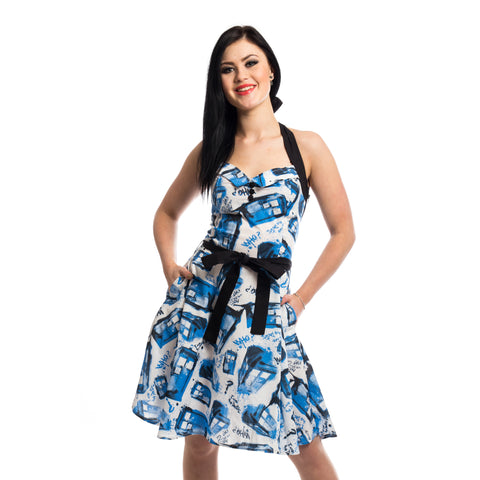 Doctor Who Street Tardis Women's Dress (White/Blue)