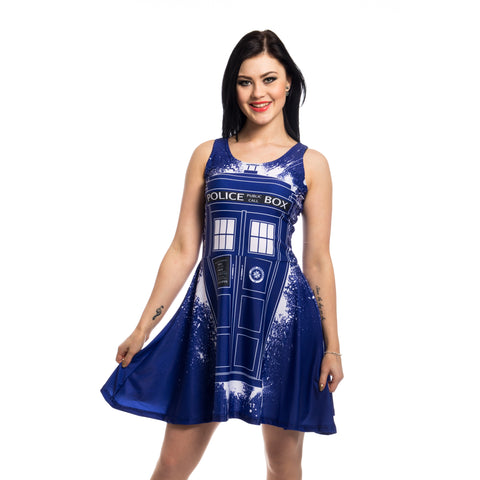 Doctor Who TARDIS Graffiti Women's Dress (Blue) - Urban Species Ladies Dress