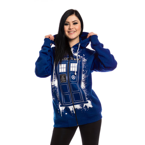 Doctor Who Tardis Graffiti Women's Hoodie (Blue) - Urban Species Ladies Hoodie
