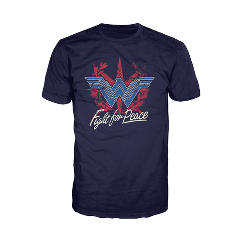 DC Wonder Woman Logo Fight Peace Official Men's T-shirt (Navy) - Urban Species Mens Short Sleeved T-Shirt