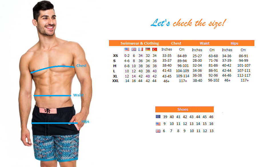 men swimwear size guide