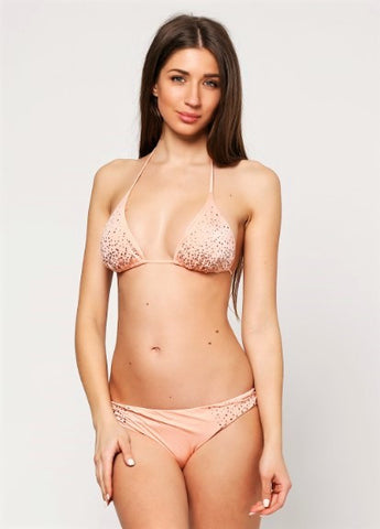 Peach Embellished Full Bottom Bikini Set - Let's Beach