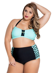 Plus Size Green Bandeau High Waist Bikini Swimsuit - Let's Beach