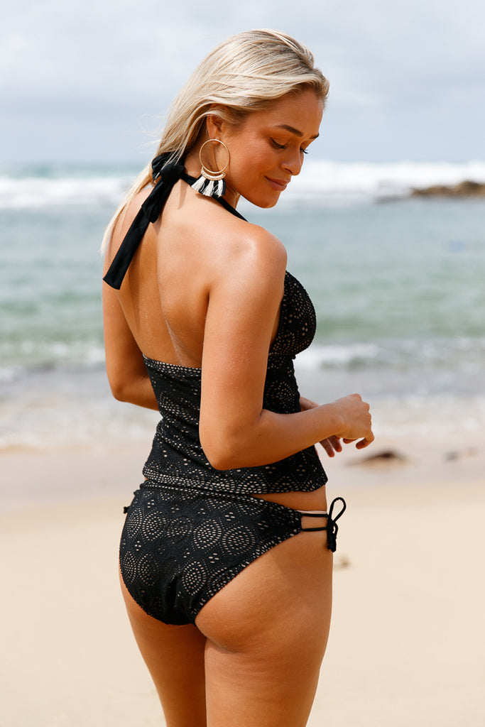 Black Laser Cut Tankini Swimsuit - Let's Beach